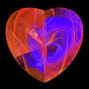 Orange And Blue Fractal Heart Poster