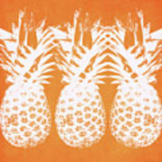 Orange And White Pineapples- Art By Linda Woods Poster