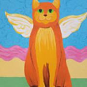 Orange Angel Cat Poster