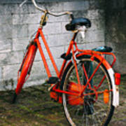 Orange Bicycle In The Street Poster