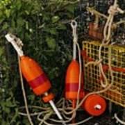 Orange Buoys, Nautical, Marblehead, Ma Poster
