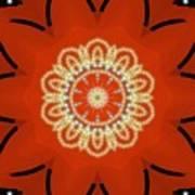 Orange Desert Flower Kaleidoscope Poster