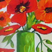 Orange flowers in Lime Green Vase Poster