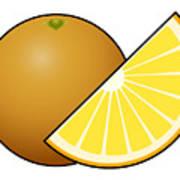 Orange Fruit Outlined Poster