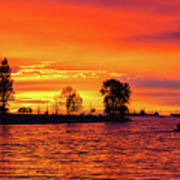 Orange Glow Sunset At Sunset Beach In Vancouver Bc Poster