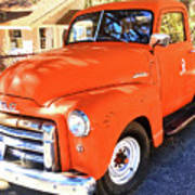 Orange Gmc Pickup Truck In Idyllwild Poster