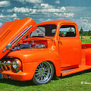 Orange Pick Up At The Car Show Poster