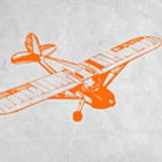 Orange Plane 2 Poster by Naxart Studio