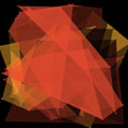 Orange Polygon Pattern Poster