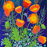 Orange Poppies And Forget Me Nots Poster