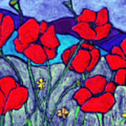 Orange  Red Poppies Poster