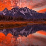 Orange Skies Over The Tetons Poster