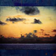 Orange Sunset Over Ocean Poster