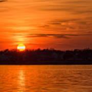 Orange Sunset Sky Island Heights Nj Poster
