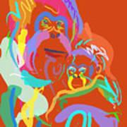 Orangutan Mom And Baby Poster