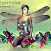Orchid Faerie Holiday Card Poster