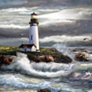 Oregon Lighthouse Beam Of Hope Poster