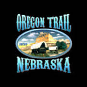 Oregon Trail Nebraska History Design Poster