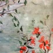 Oriental Orange Flowers Poster