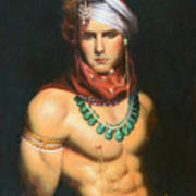 Original Classic Oil Painting Man Body Art-male Nude -068 Poster