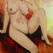 Original Fine Art Female Nude Sitting Yellow Red Background Multimedia Painting Poster