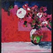Original Floral Painting By Elaine Elliott, 12x12 Acrylic And Collage, 59.00 Incl. Shipping, Contemp Poster
