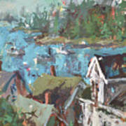 Original Modern Abstract Maine Landscape Painting Poster