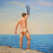 Original  Oil Painting Gay Art Male Nude By Body On Canvas#16-2-5-011 Poster