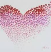 Original Oil Painting Heart, Painting Butterflies, Valentines Day Art, Wall Art Love Poster