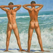 Original Oil Painting Male Nude Gay Interest Art By Seasid On Canvas #16-2-5-0-10 Poster
