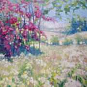 Original Oil Painting - Spring Meadow In Sussex Poster