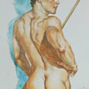 Original Watercolor Painting Art Male Nude Men On Paper #12-25-02 Poster