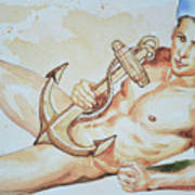 Original Watercolor Painting Artwork Sailor Male Nude Man Gay Interest On Paper #9-015 Poster