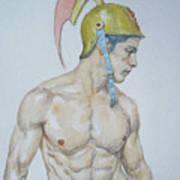 Original Watercolor Painting Male Nude Man #17511 Poster