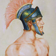 Original Watercolour Painting Art Male Nude Portrait Of General  On Paper #16-3-4-19 Poster