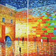 Original Western Wall Jerusalem Wailing Wall Acrylic 2 Panels Poster