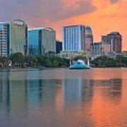 Orlando Cityscape Sunset Poster