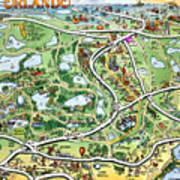 Orlando Florida Cartoon Map Poster