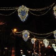 Ornamental Design Christmas Light Decoration In Madrid, Spain Poster