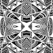Ornamental Intersection - Abstract Black And White Graphic Drawing Poster