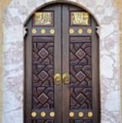 Ornately Decorated Wood And Brass Inlay Door Of Sarajevo Mosque Bosnia Hercegovina Poster