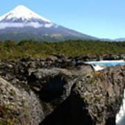 Osorno Volcano From Petrohue Falls Poster