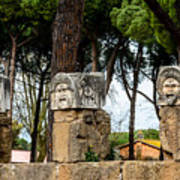 Ostia Antica - Theatre Marble Masks Poster
