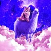 Outer Space Galaxy Kitty Cat Riding On Llama Poster