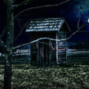 Outhouse In The Moonlight With Flying Crows Poster
