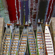 Outrigger Canoe Boats And Water Reflection Poster by Ben and Raisa Gertsberg