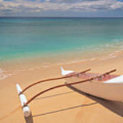 Outrigger On Beach Poster