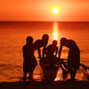 Outrigger Sunset Silhouet Poster