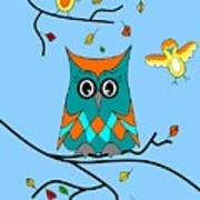 Owl And Birds - Whimsical Poster