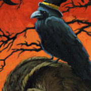 Owl And Crow Halloween Poster